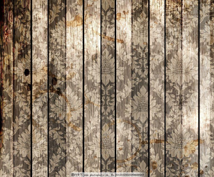 木纹木板 古典花纹 木纹 木板 古典 欧式 怀旧 复古 时尚 花纹 背景