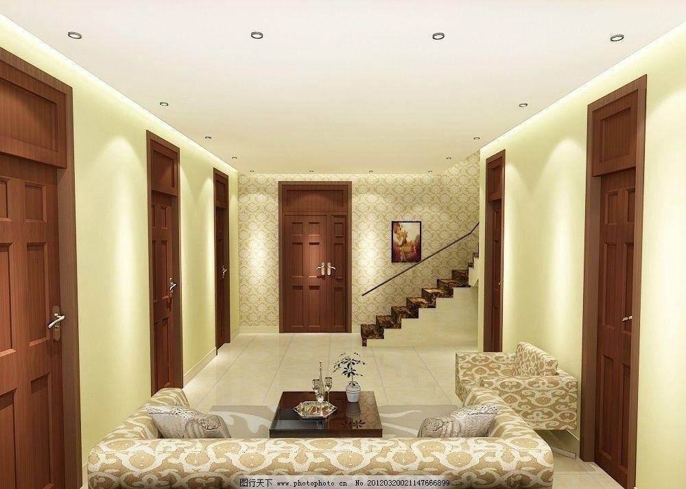 客厅效果图      简约客厅 沙发 枕头 茶几 装饰画 门 楼梯 玻璃扶手
