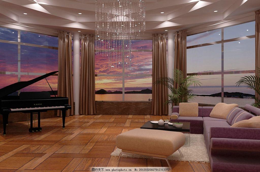 海景房 海景 傍晚 鋼琴 水晶吊燈        大海 別墅 3d 晚霞 室內設計