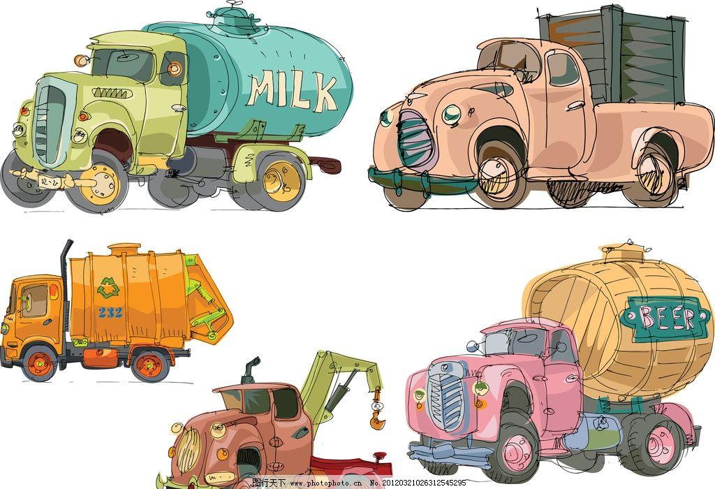 卡通 汽车 手绘 玩具 可爱 卡车 啤酒车 啤酒罐 货车 回收 吊车 矢量