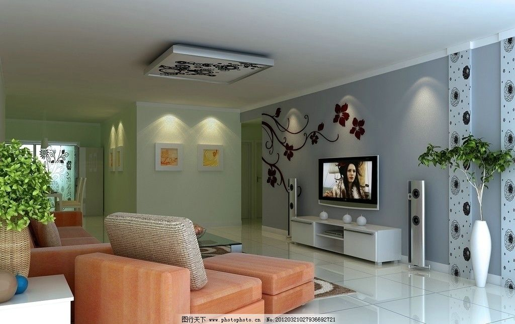 客厅效果图 现代             简约 时尚 沙发 电视 柜子 家具 室内设