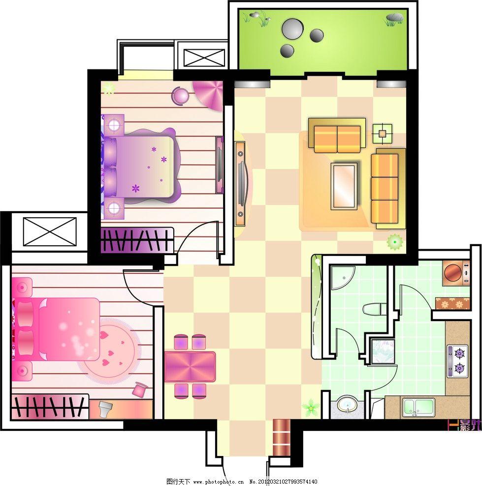 简单温馨的小户型平面图 小户型 平面图 室内设计 建筑家居 矢量 cdr