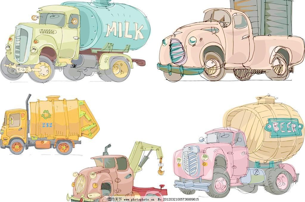 ai 吊车 回收 货车 卡车 卡通 卡通汽车 卡通汽车矢量素材 可爱 其他