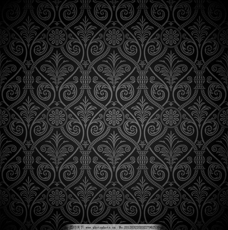 黑色背景银色欧式边框素材