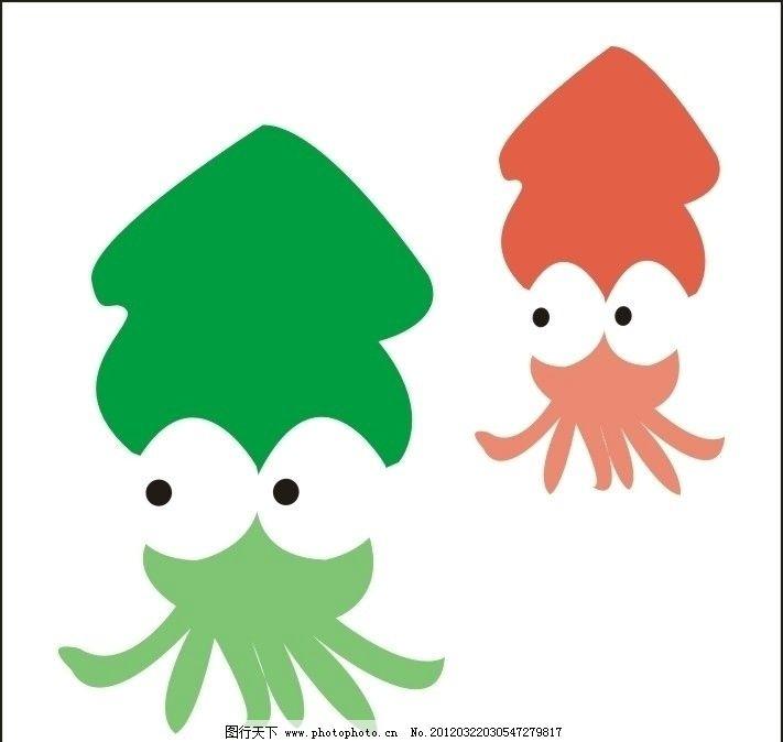 卡通乌贼 红色 绿色 小动物 大眼睛 游来游去 卡通设计 广告设计 矢量