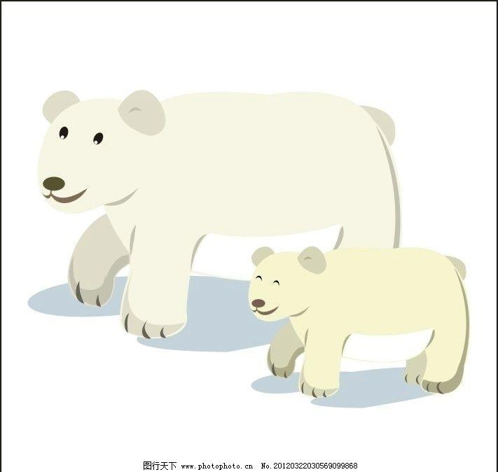 可爱的北极熊 卡通小动物 雪白 母熊和小熊 母爱 卡通设计 广告设计