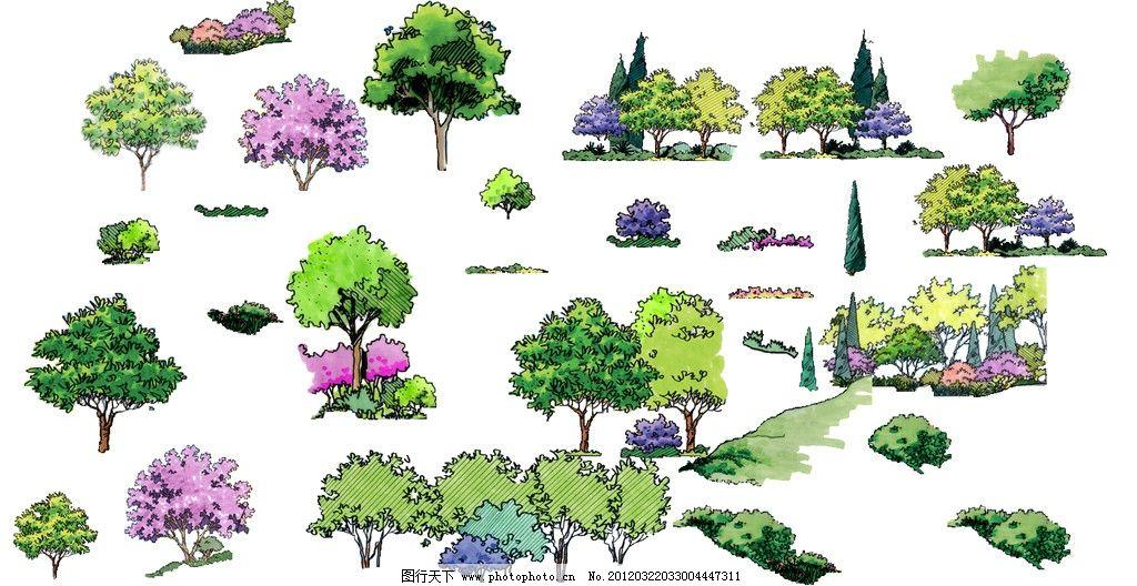 立面 园林 手绘景观效果图 园林设计 景观效果图 景观园林 树木 植物