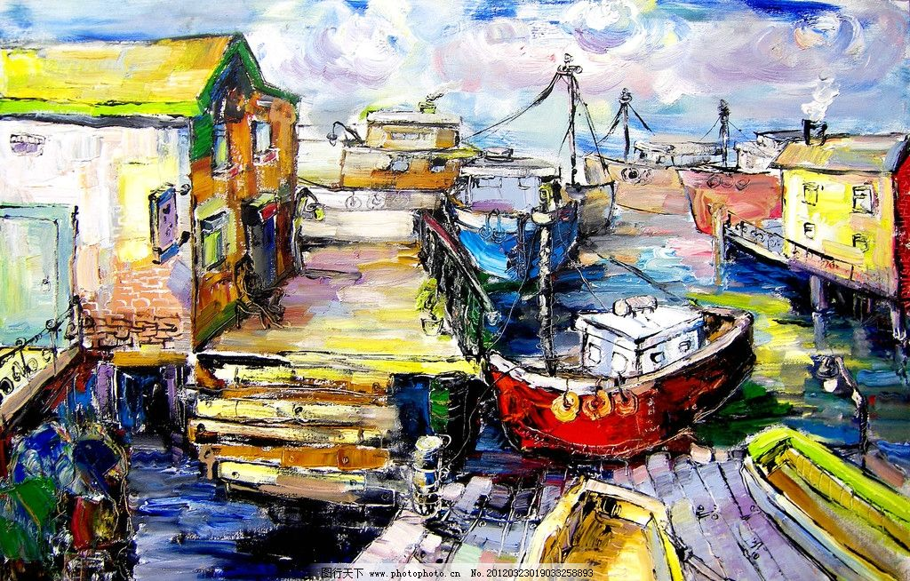 美术 油画 风景画 水乡 大河 船只 码头 房屋 巷口 国画艺术 油画作品