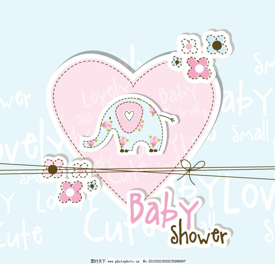 可爱婴儿宝宝花纹 卡片 小象 手绘 花朵 线条 蝴蝶结 时尚 梦幻