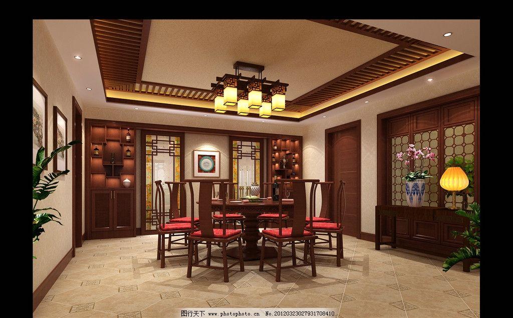 客厅图片,中式 餐厅 豪华 木椅 桌子-图行天下图库