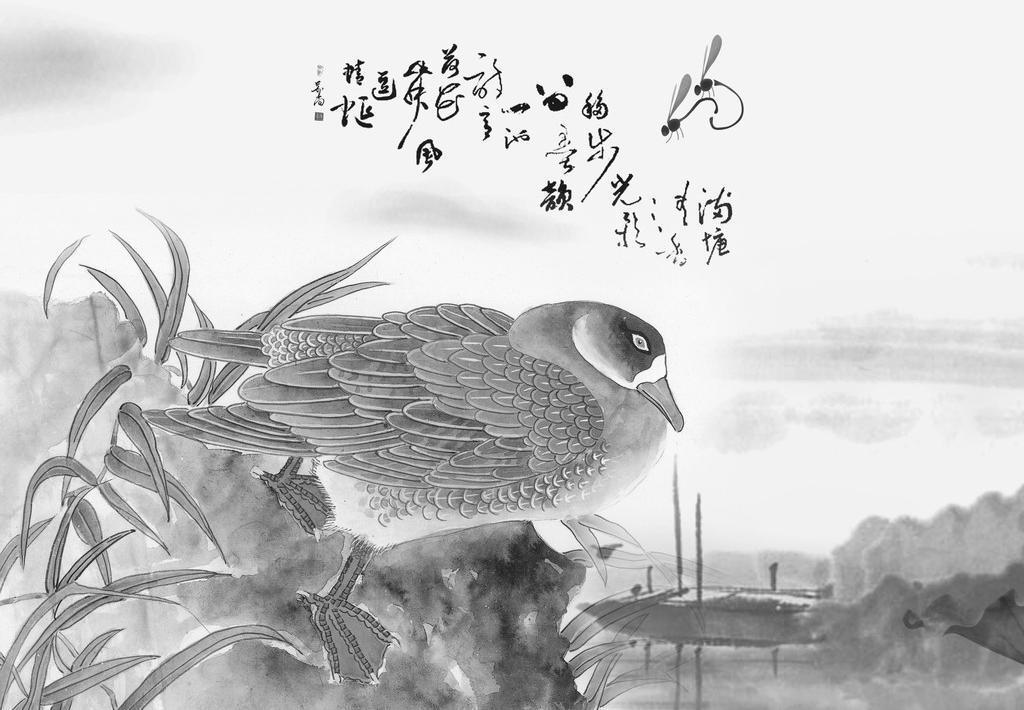 小桥胖鸭流水图 背景 草丛 分层素材 风景 国画 荷花 荷叶 小桥胖鸭