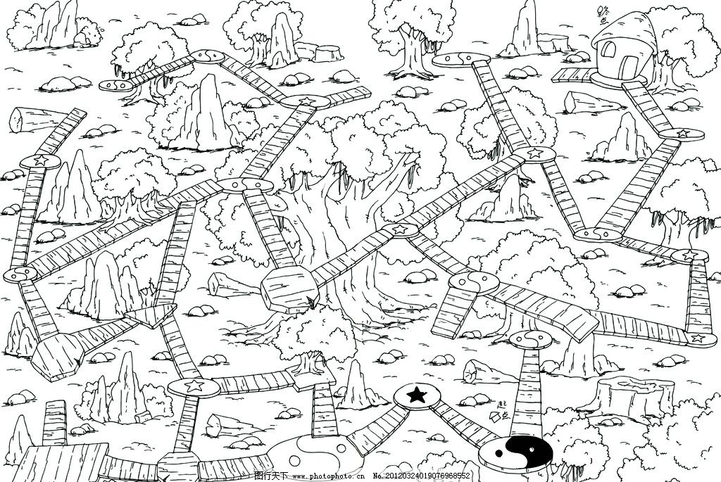 迷宫线稿 大迷宫 幼儿智力 线稿 迷宫 图书 手绘 绘画书法 文化艺术
