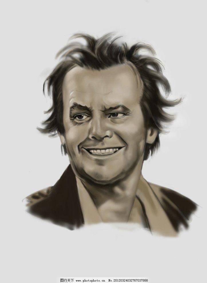 尼科尔森手绘画像 飞越疯人院 手绘 杰克 尼科尔森 人物 psd分层素材