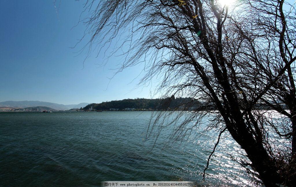 仓山 洱海 深湖 黑潭 枯树 远山 蓝天 波浪 苍山洱海 山水风景 自然景