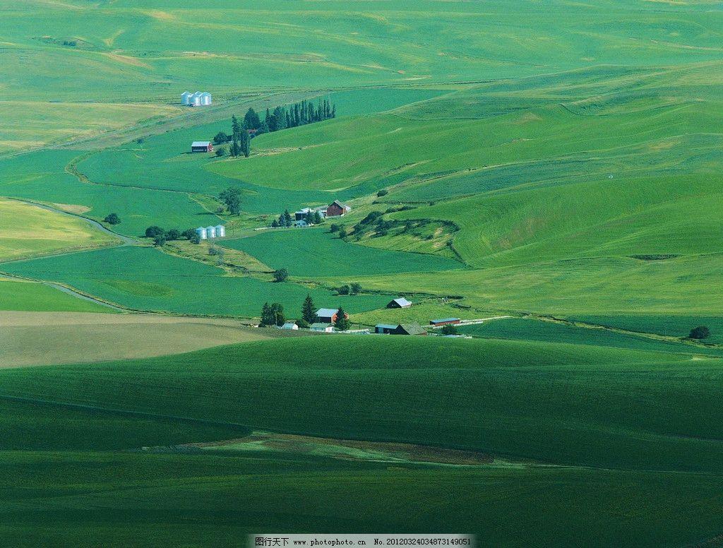 草坡 草原 山坡 自然风光 房屋 树木 绿色 郊外 自然风景 自然景观