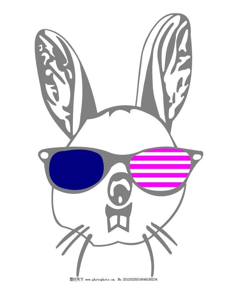戴眼镜的兔子图片