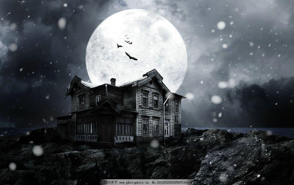夜晚明月魔法屋 夜晚 夜景 魔法屋 明月 月亮 老鹰 风景漫画 动漫动