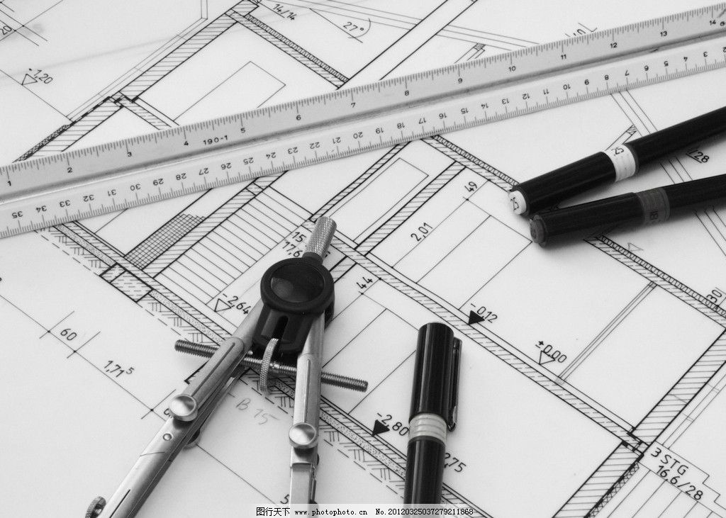 建筑图纸图片,圆规 工具 尺子 办公用品 画笔 高清-图