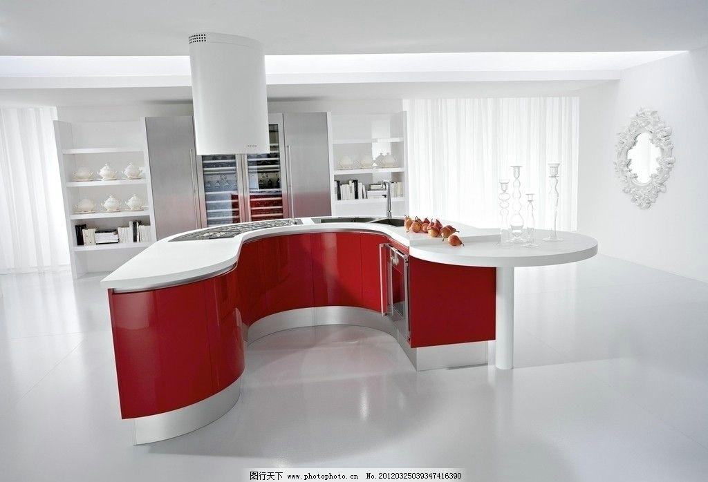 高调欧式简约白色红色奢华餐厅 室内摄影 镜子 橱柜 红色橱柜 厨房