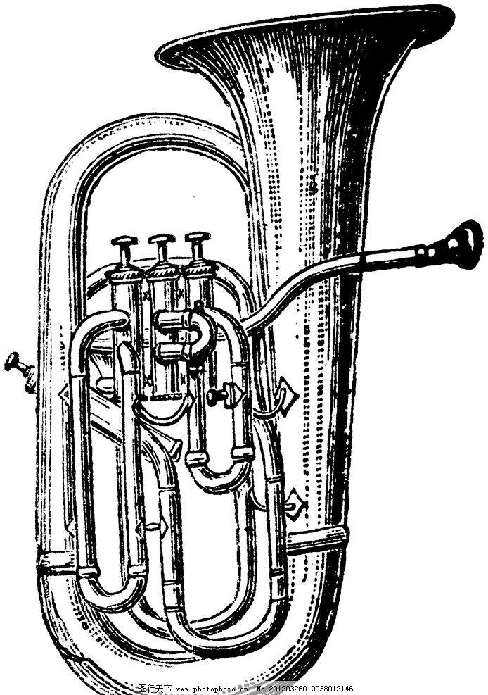 复古钢笔画 复古 钢笔画 欧式 插画 古典绘画 乐器 小号 绘画书法图片
