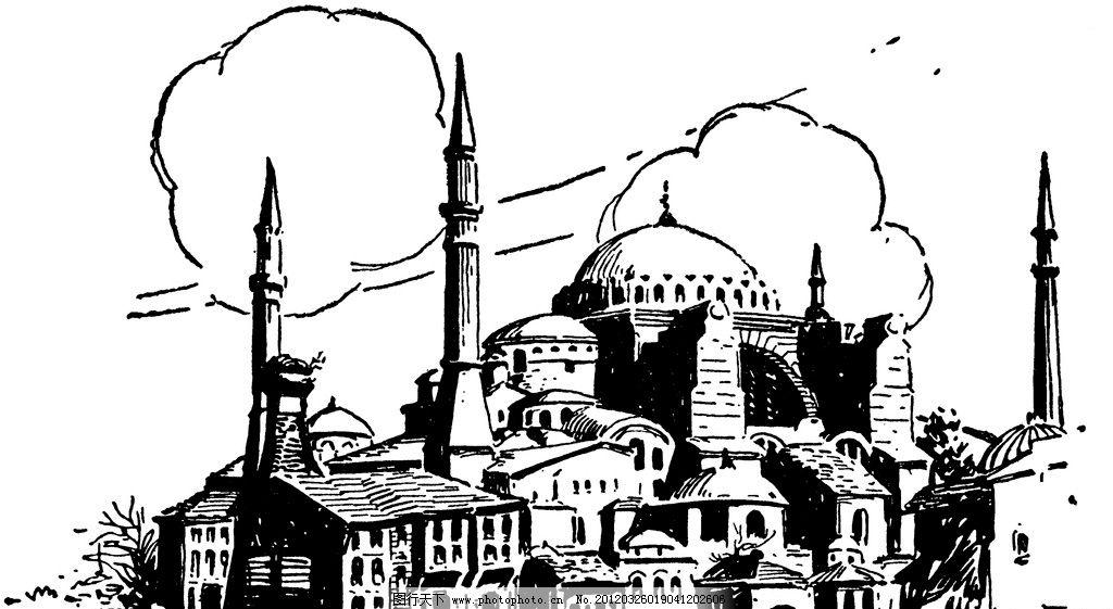 复古钢笔画 复古 钢笔画 欧式 插画 古典绘画 建筑 城堡 绘画书法图片