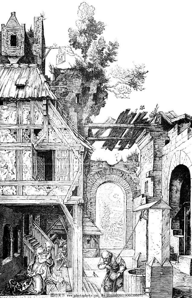 欧式 建筑 风景 手绘 钢笔画