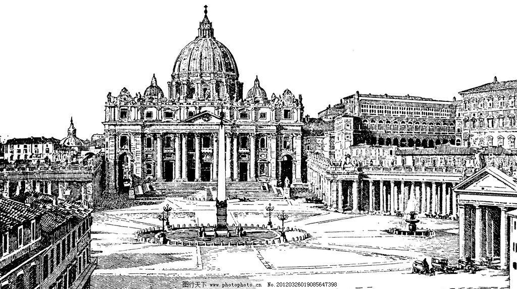 复古钢笔画 复古 钢笔画 欧式 插画 古典绘画 建筑 城堡 绘画书法