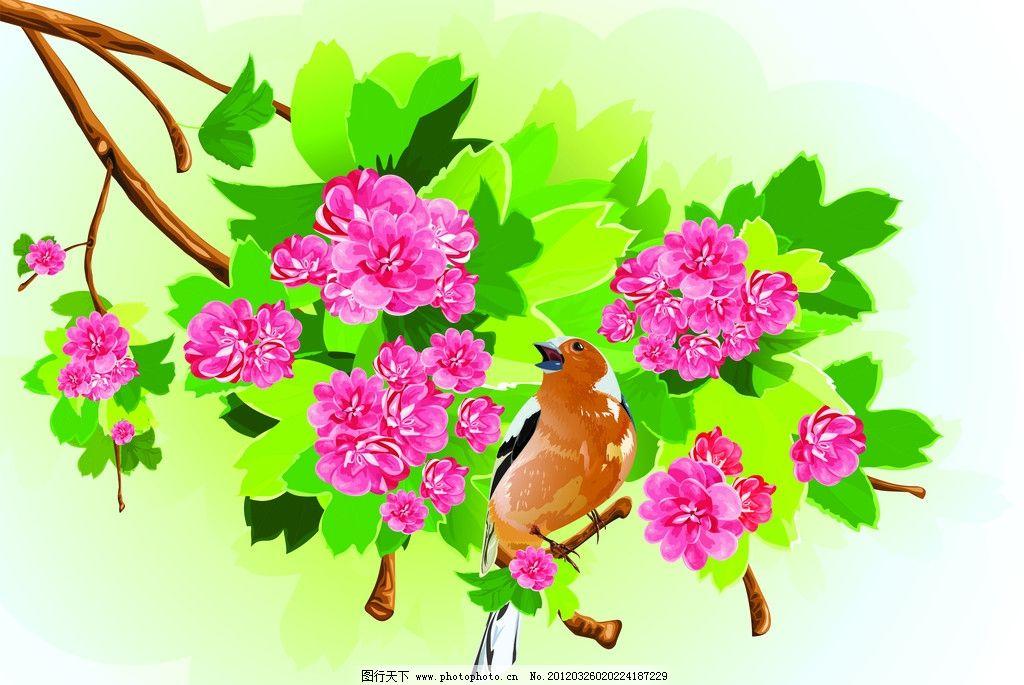 桃花背景 桃花 唯美桃花 花朵 花卉 工笔 鸟 图案 花边 花纹 唯美背景