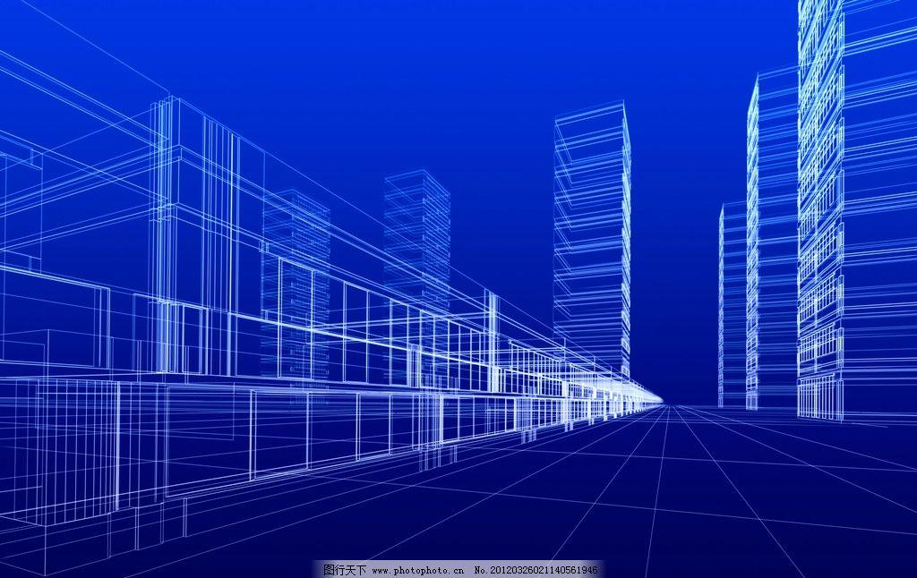 3d透视图 蓝色 蓝图 城市 规划 街道 大厦 楼层 地平线