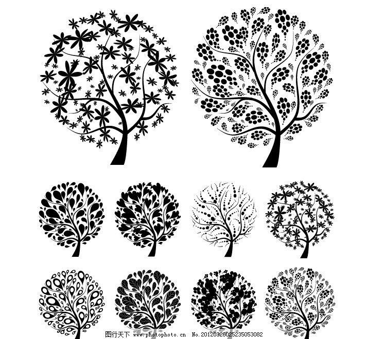 黑白花纹树木 时尚花纹树木 黑白 树木 剪纸 花纹 树剪影 树木剪影 春天 树叶 树花纹 花纹树 手绘 线条 时尚 潮流 梦幻 装饰 设计 背景 底纹 矢量 植物主题 树木树叶 生物世界 EPS 矢量树木树叶 AI