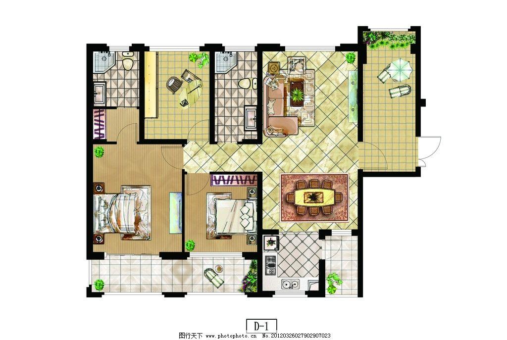 彩色平面 彩平 房地产 psd 户型图 平面图 房地产平面 室内设计 环境
