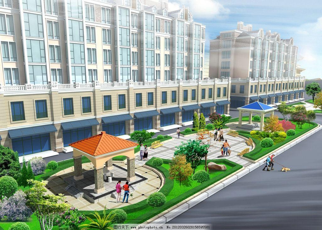 设计图库 环境设计 景观设计  小区景观效果图 宅间绿地 景观设计