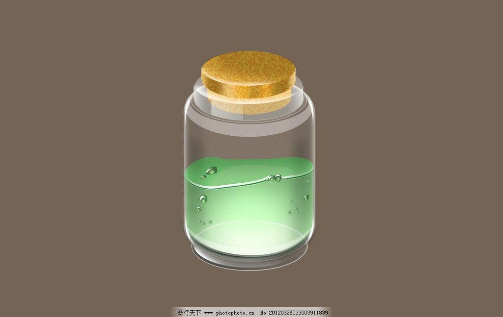 玻璃瓶子 玻璃 瓶子 绿色液体 漂流瓶 psd分层素材 源文件 300dpi psd