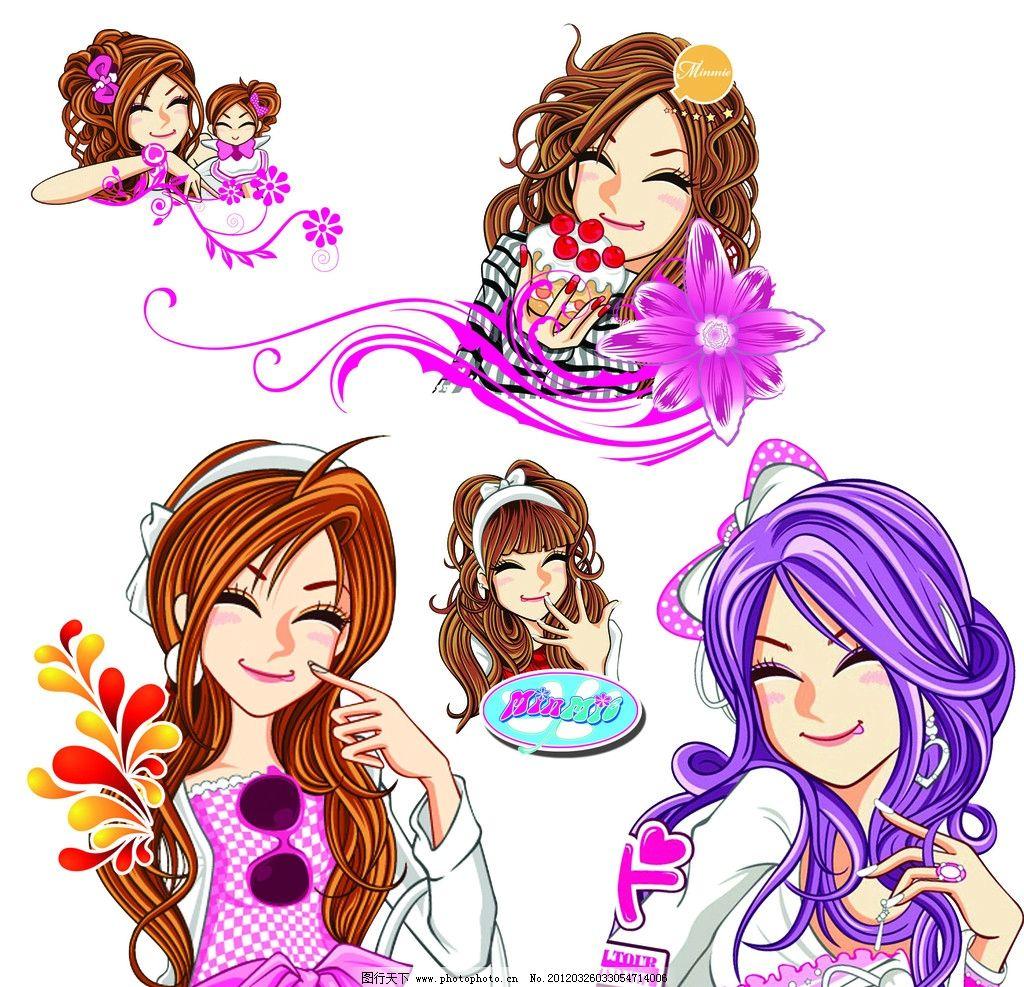 韩国女孩 卡通女孩 眼镜 花 头发 可爱 可爱卡通 发夹 源文件