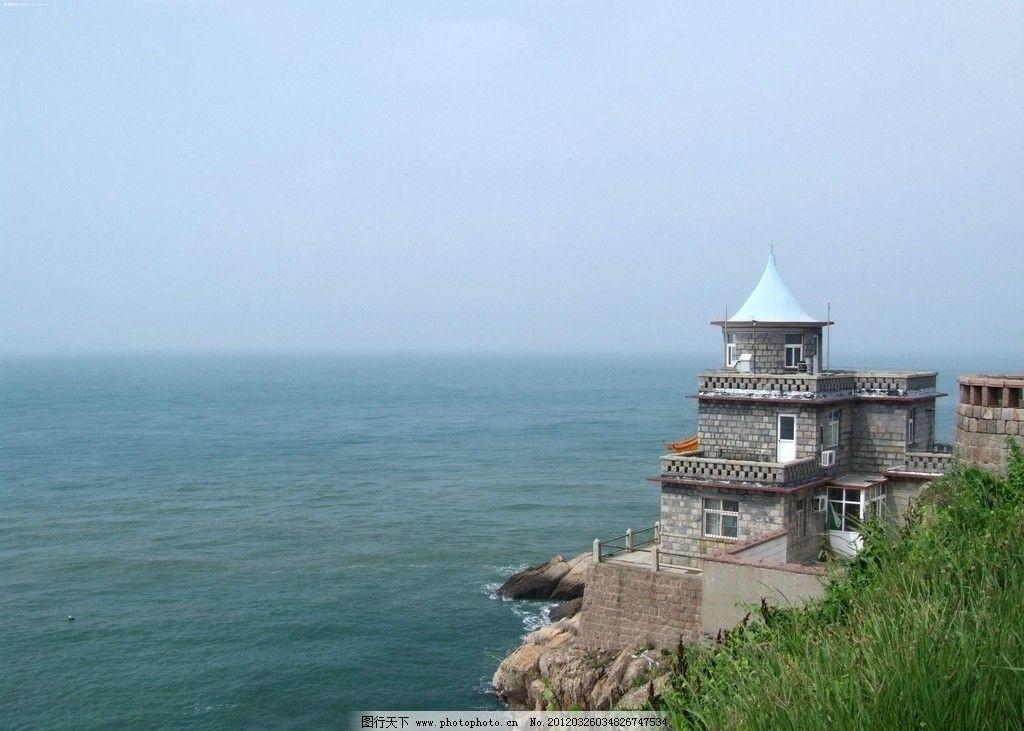海滨风景 大海 蔚蓝 小塔 树木 自然风景 自然景观 摄影 72dpi jpg