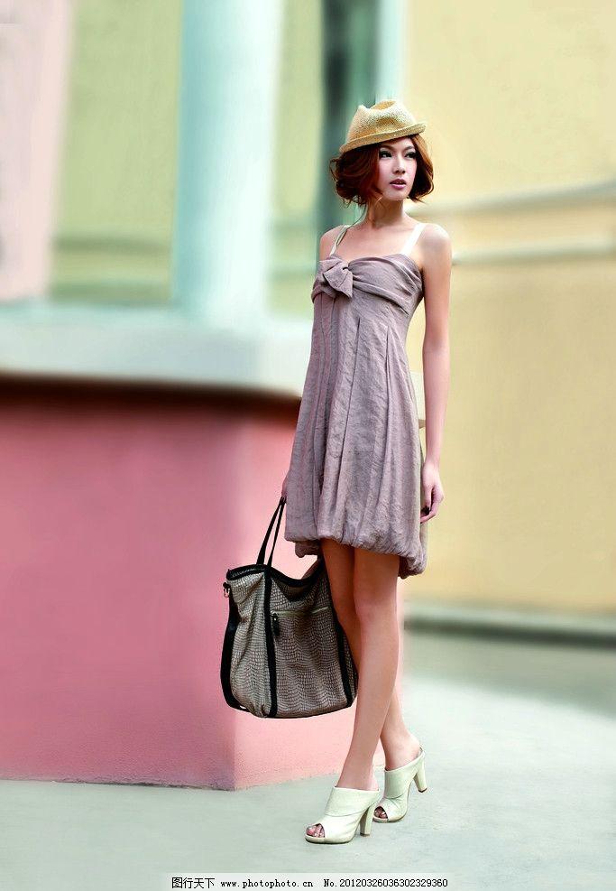 服装模特 长发 美女 圣恩熙 时尚美女 高跟鞋 凉鞋 裙子 包包