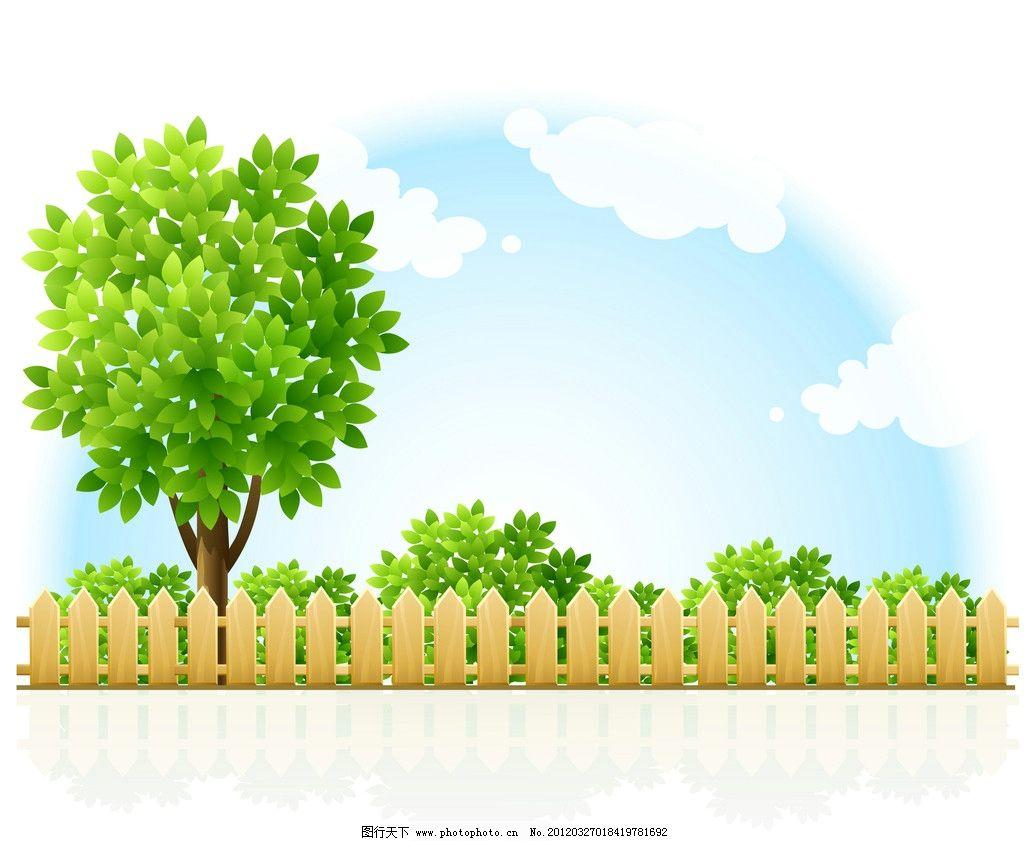 设计图库 动漫卡通 风景漫画  卡通树 卡通 树木 栅栏 围栏 蓝天白云