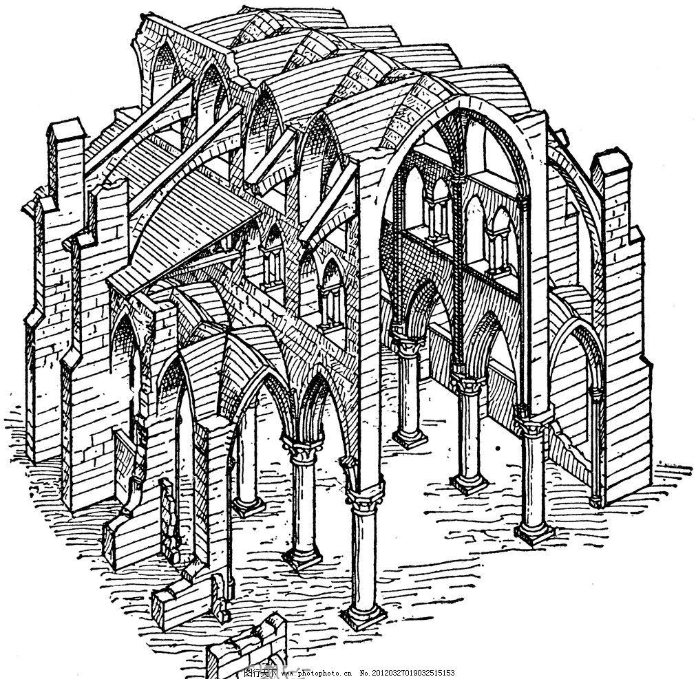 复古钢笔画 欧式 插画 古典绘画 建筑 绘画书法 文化艺术
