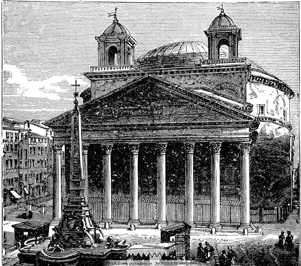 复古钢笔画 复古 钢笔画 欧式 插画 古典绘画 欧式建筑 绘画书法 文化图片