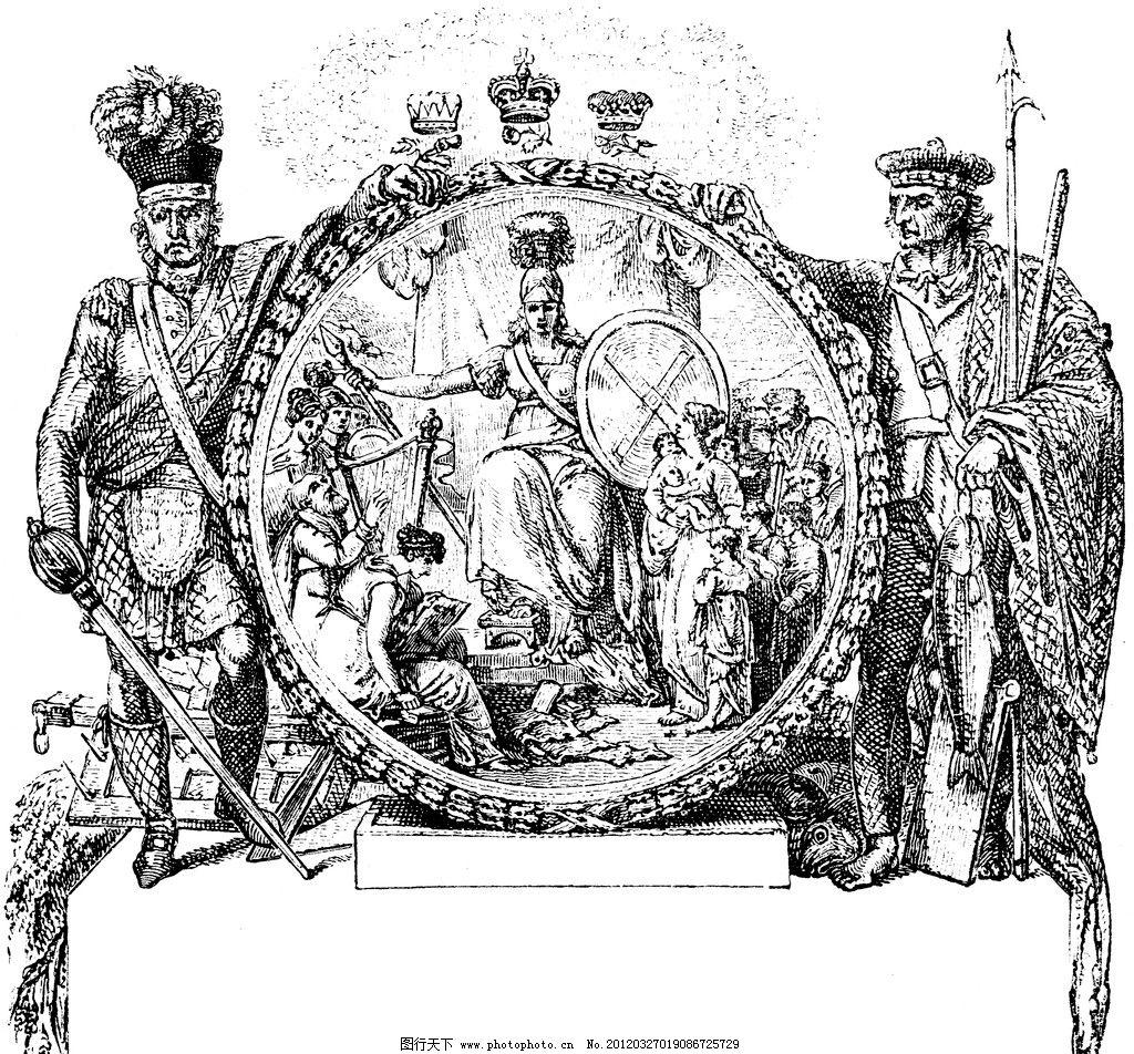 复古钢笔画 复古 钢笔画 欧式 插画 古典绘画 骑士 镜子 皇冠 绘画图片