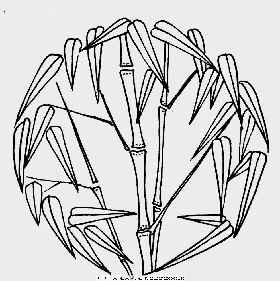 装饰纹路 设计 装饰 黑白 圆 底纹 花纹 竹 植物 花边花纹 底纹边框 7