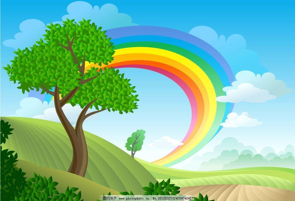 蓝天白云绿树春天背景图片