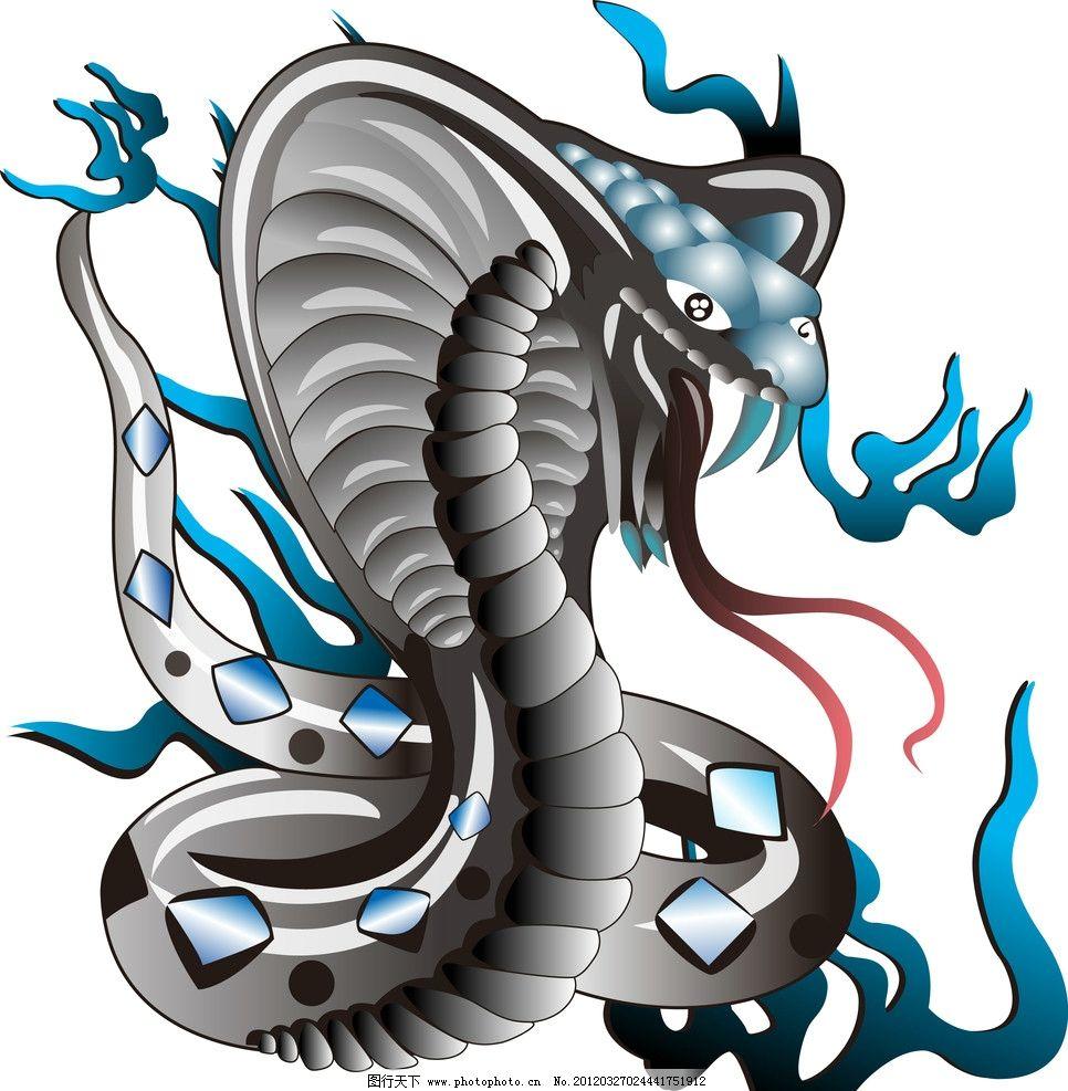 眼镜蛇 纹身 刺青 蛇 火焰 野生动物 生物世界 矢量 ai