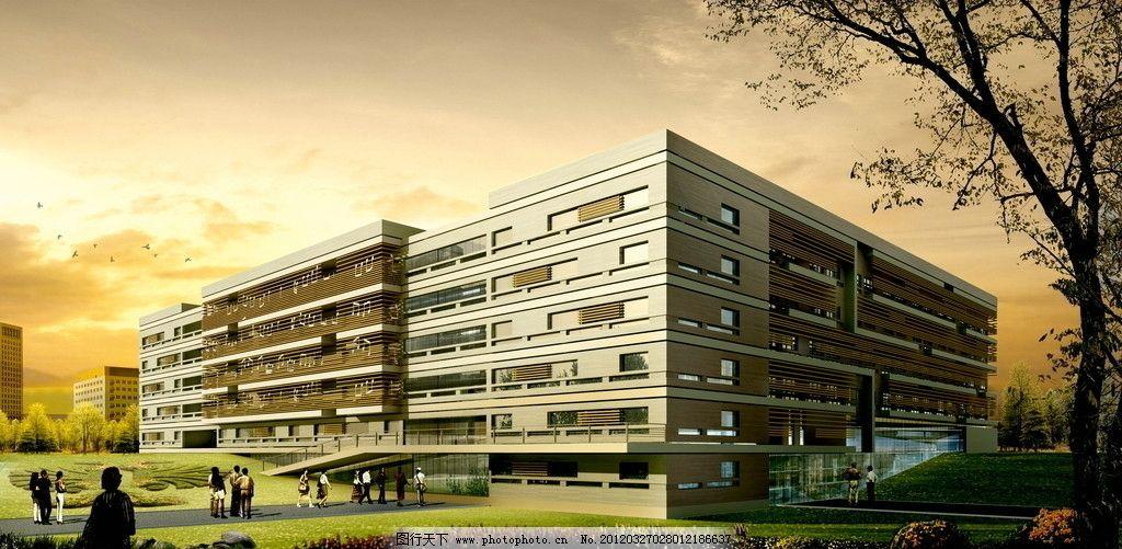 图书馆效果图 建筑        立面图 日景 草坪 写字楼 科技楼 大厦