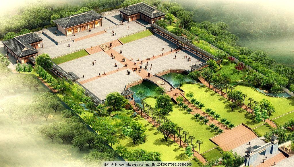 古建园林鸟瞰图 广场 纪念堂 景观设计 牌坊 绿化 环境设计 设计 72