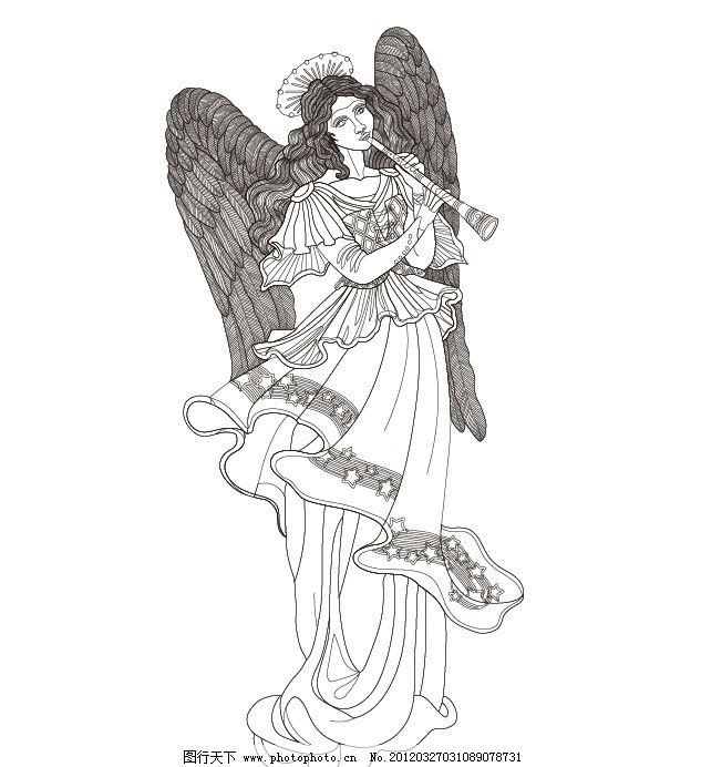 西方天使 白描 美女 天使 矢量图 羽毛 线条 翅膀 封面图 索材 ai cs2