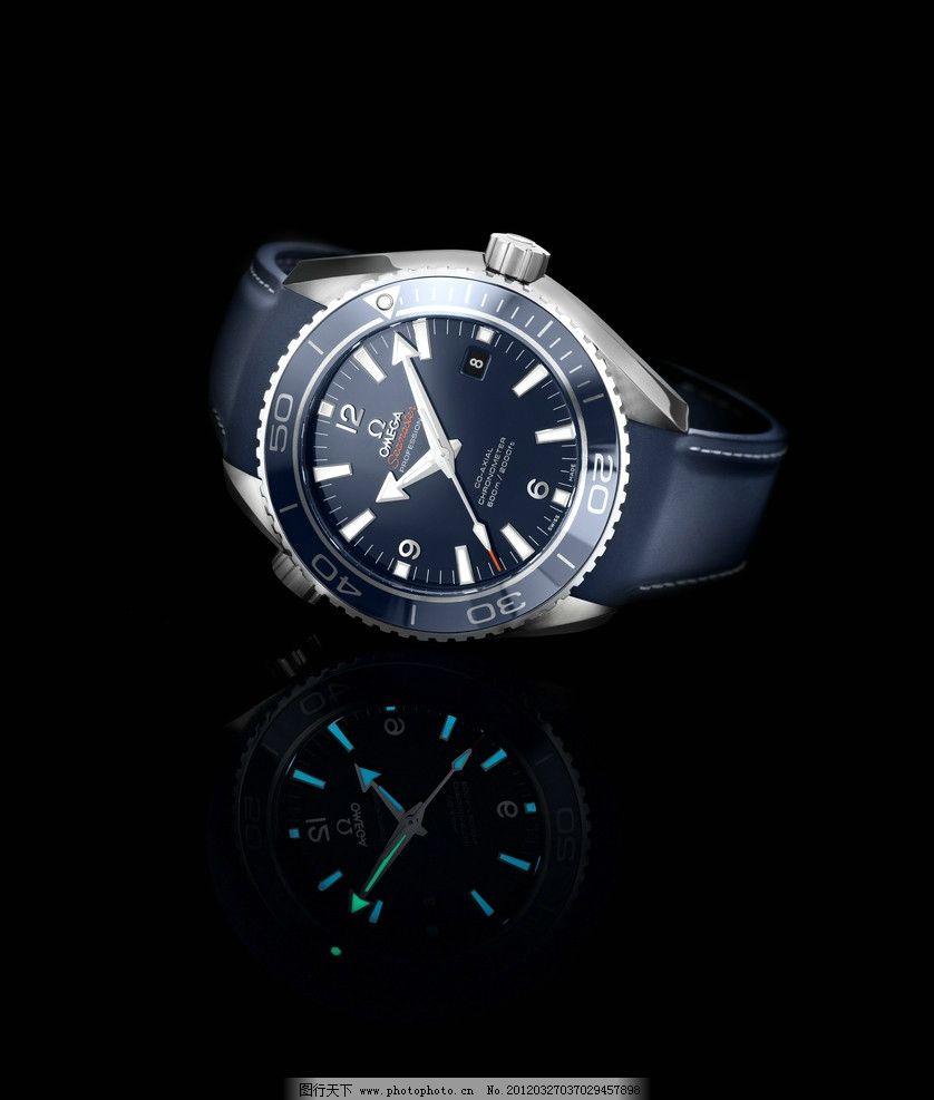 欧米茄 钟表 黑色表带 表框 钟表机械 精密 奢侈品 生活素材图片
