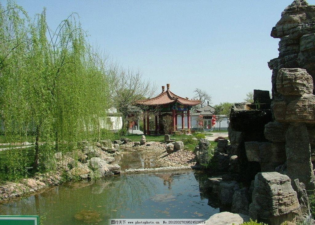 园林 湖泊 假山 柳树 园林素材 园林建筑 建筑园林 摄影 72dpi jpg