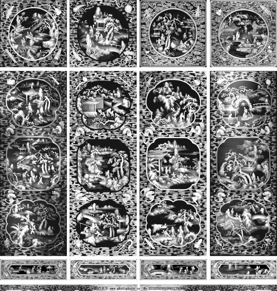 古代人物灰度图 灰度图 人物 山水 动物 飞鸟 浮雕画 古画 钓鱼 传统