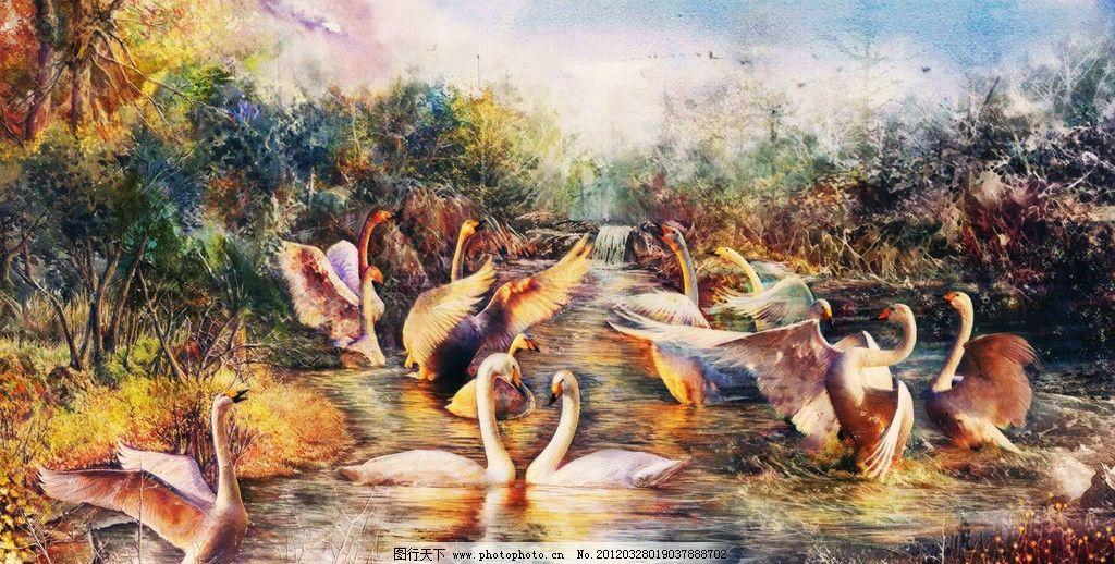 天鹅湖 天鹅 树林 油画 成群 梦幻 手绘 cg 游戏 动漫 风景 动物 水墨